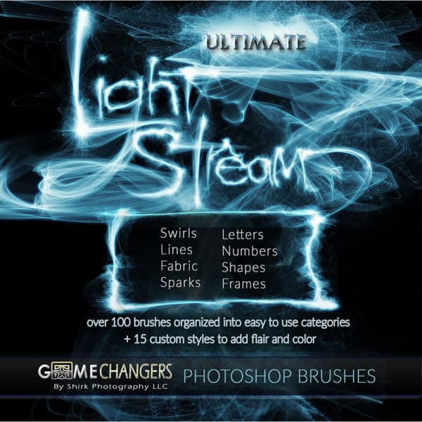 light stream photoshop brushes includes game changers by shirk photography