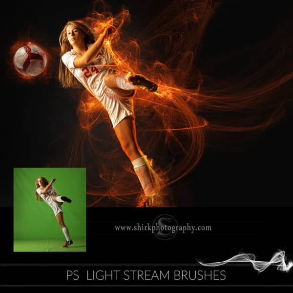 light stream photoshop brushes soccer kick game changers by shirk photography