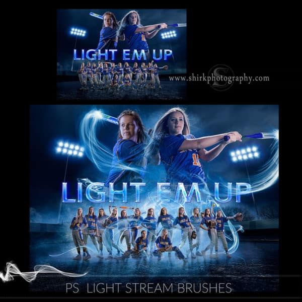light stream photoshop brushes softball poster game changers by shirk photography