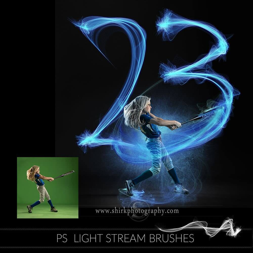 Light Stream Photoshop Brush Collection + Tutorial ⋆ Game Changers by Shirk  Photography LLC