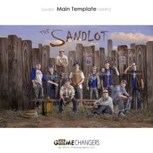 Baseball Main Team : Sandlot Photoshop Template for Photographers with Fence