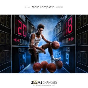 Basketball Player Sports Senior Portrait Creative Scoreboard Score Digital Background Photoshop Template Composite Ideas Photographers