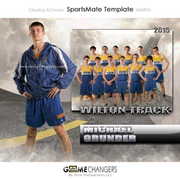 Track SportsMate : Chasing a Dream Photoshop Template Memory Mate for Photographers with Road Clouds Sky