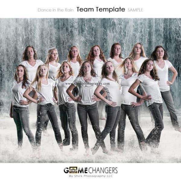 Waterfall Water Splash Swim Sports Team Photoshop Template: Digital Background for Photographers