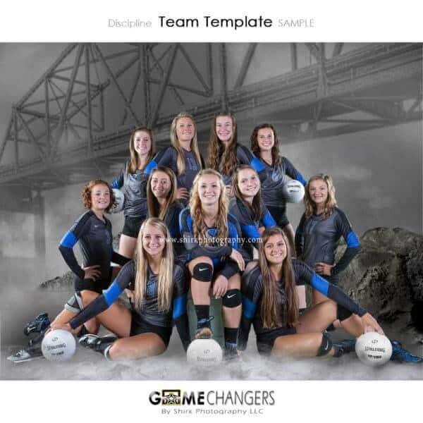 Bridge Fog Volleyball Team Photoshop Template: Digital Background for Photographers