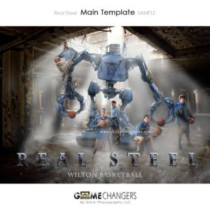 Basketball Team : Real Steel Photoshop Template for Photographers with Abandoned Building Warehouse