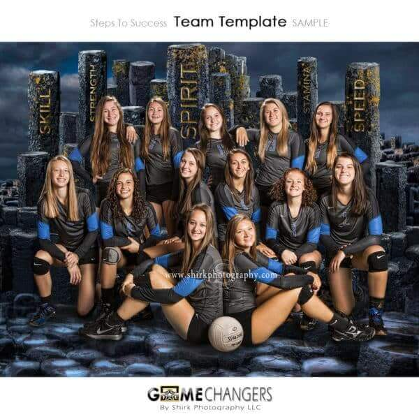 Steps Success Volleyball Sports Team Photoshop Template: Digital Background for Photographers