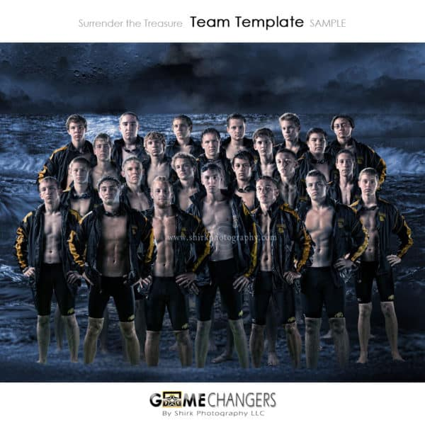 Swim Ocean Waves Water Sports Team Photoshop Template: Digital Background for Photographers