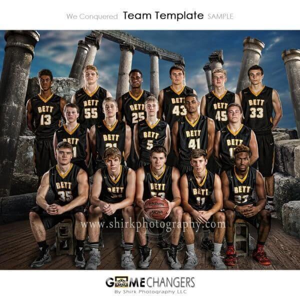 Roman Columns Arena Basketball Sports Team Photoshop Template: Digital Background for Photographers