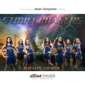 Track Cross Country Main Team : Storm Chasers Photoshop Template for Photographers with Lightning at Sunset