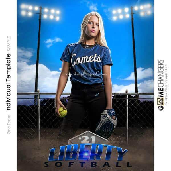 Softball Photoshop Template Sports Poster Banner Creative Clouds Dirt Fence Lights Digital Background Ideas Photographers