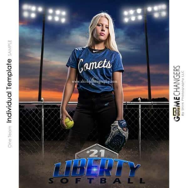 Softball Photoshop Template Sports Poster Banner Creative Sunset Dirt Fence Lights Digital Background Ideas Photographers