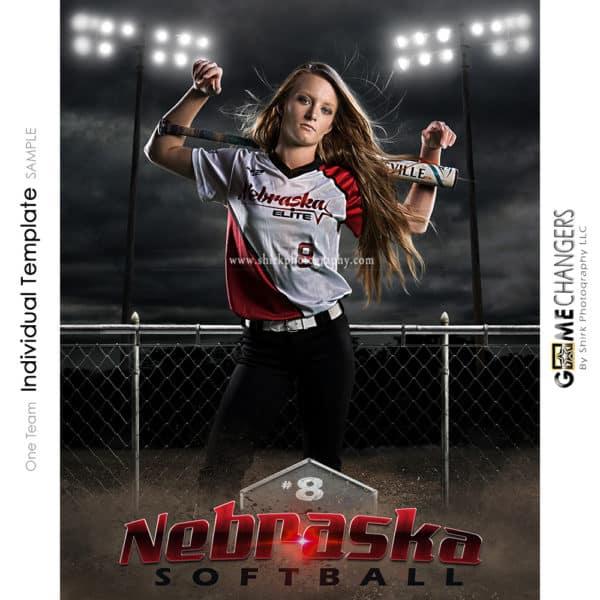 Softball Photoshop Template Sports Poster Banner Creative Night Dirt Fence Lights Digital Background Ideas Photographers