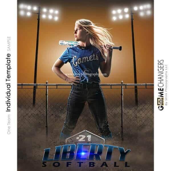 Softball Photoshop Template Sports Poster Banner Creative Dirt Fence Lights Digital Background Ideas Photographers