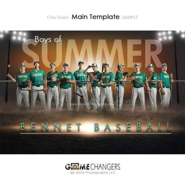 Baseball Photoshop Template Sports Team Poster Banner Creative Field Lights Summer Digital Background Ideas Photographers