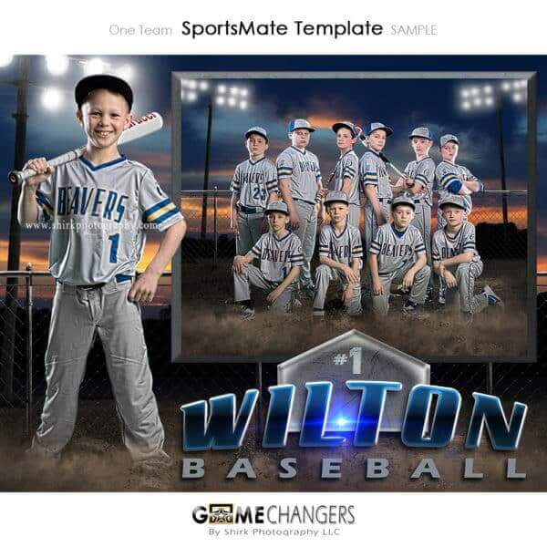 Baseball SportsMate : One Team Photoshop Template Memory Mate for Photographers