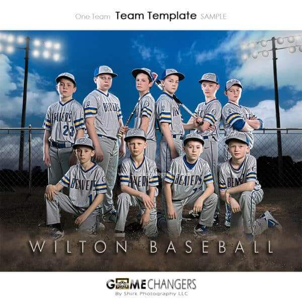 Baseball Team Clouds: One Team Photoshop Template for Photographers