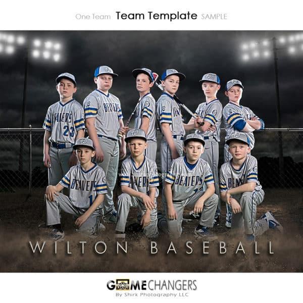 Baseball Team Night: One Team Photoshop Template for Photographers