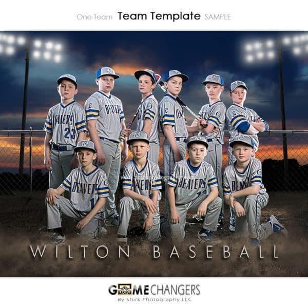 Baseball Team Sunset: One Team Photoshop Template for Photographers