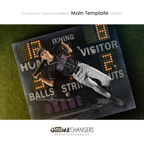 Scoreboard Takeover Ballfield Baseball Photoshop Template Sports Team Poster Banner Creative Digital Background Ideas Photographers