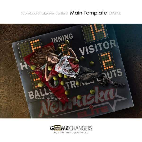Scoreboard Takeover Ballfield Softball Photoshop Template Sports Team Poster Banner Creative Digital Background Ideas Photographers
