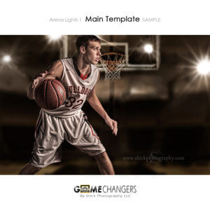 Basketball Hoop Arena Lights 1 Photoshop Template Digital Background Sports Senior Boy Dribble Game Changers Shirk Photography
