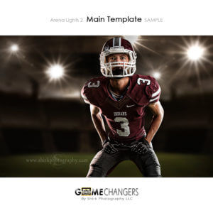 Football Arena Lights 2 Main Photoshop Template Digital Background Sports Senior Boy Game Changers Shirk Photography