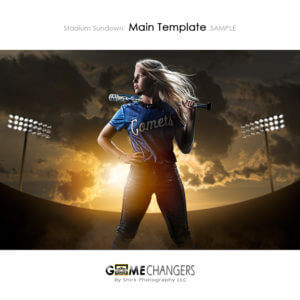 Softball Stadium Sundown Photoshop Template Digital Background Sports Senior Girl Bat Game Changers Shirk Photography