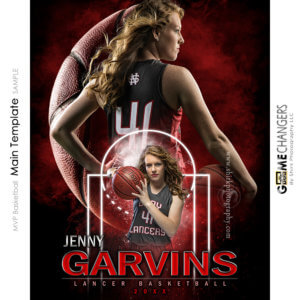 MVP Basketball Main Photoshop Template Digital Background Sports Senior Girl Game Changers Shirk Photography