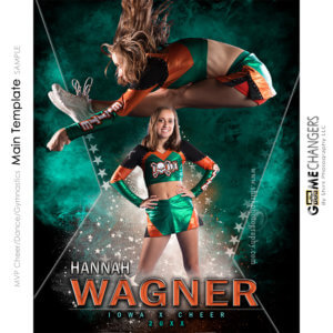 MVP Cheer Dance Pom Gymnastics Main Photoshop Template Digital Background Sports Senior Girl Game Changers Shirk Photography