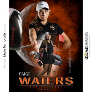 MVP Golf Main Photoshop Template Digital Background Sports Senior Girl Game Changers Shirk Photography