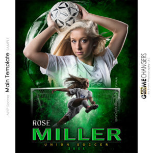 MVP Soccer Main Photoshop Template Digital Background Sports Senior Girl Game Changers Shirk Photography