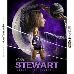 MVP Volleyball Main Photoshop Template Digital Background Sports Senior Girl Game Changers Shirk Photography