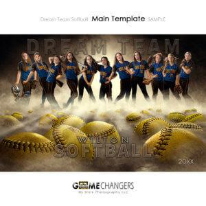 Softball Sports Team Poster Banner Creative Dream Fog Digital Background Photoshop Template Ideas Photographers