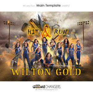 Softball Main Team: Hit and Run Photoshop Template for Photographers with Fire Explosion