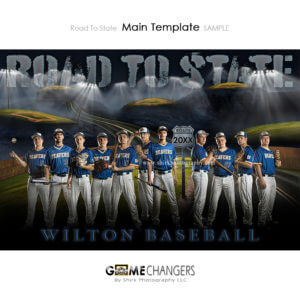 Baseball Main Team : Road to State Photoshop Template for Photographers with Field at Night