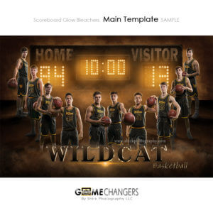 Basketball scoreboard digital background for sports team poster